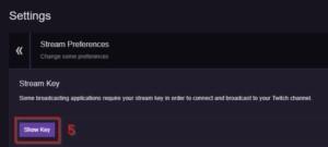 My Twitch Stream Key Twitch menu dashboard Stream Key confirmation 1