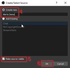 Example of Stream Alerts from Twitch - how to use OBS Software - OBS Create Scene 2