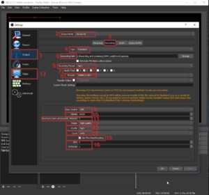 Example of Best encoding settings for OBS Studio Software while Recording output