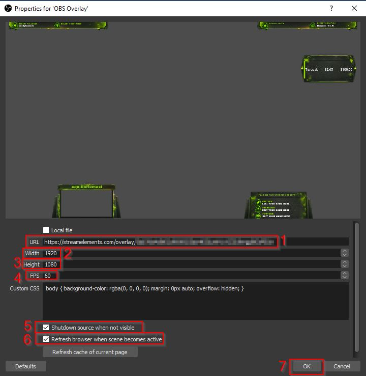 Example of OBS Overlay Twitch Overlay URL Create Browser Source 3