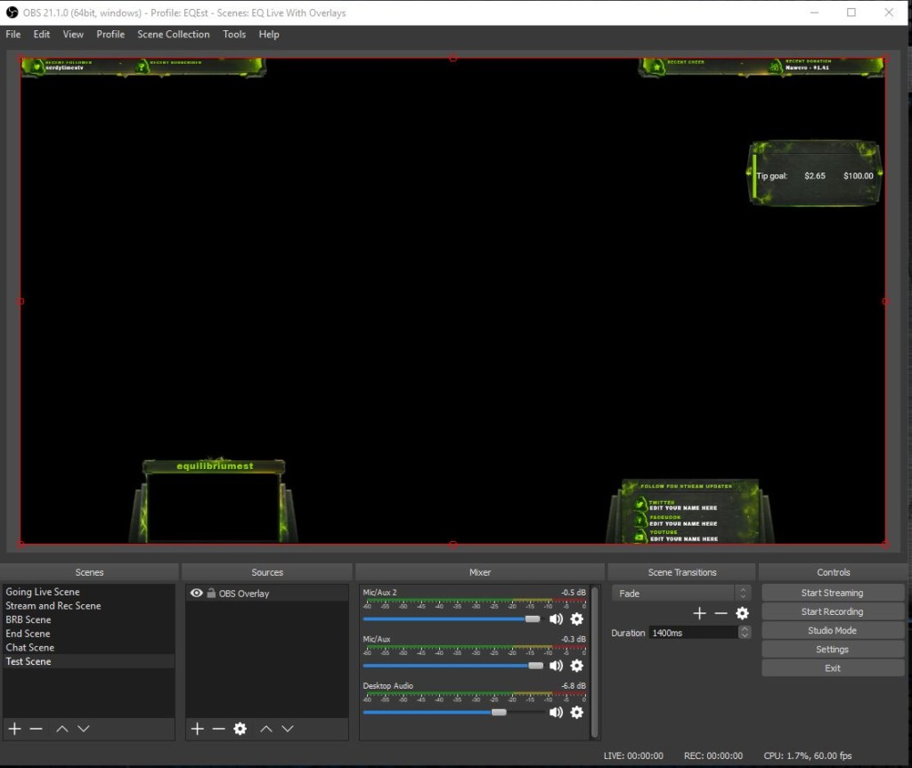 Example of OBS Overlay Twitch Overlay URL Create Browser Source 4